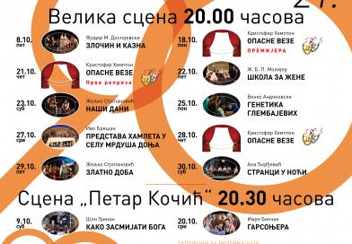 Tokom oktobra zanimljiv repertoar u Narodnom pozorištu Republike Srpske